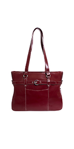 "Red 15"" Leather Ladies Laptop Briefcase"