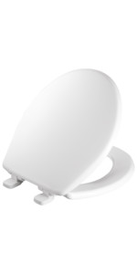 toilet seat; elongated, round, Mayfair; bemis; lift up, take off, remove, quick release