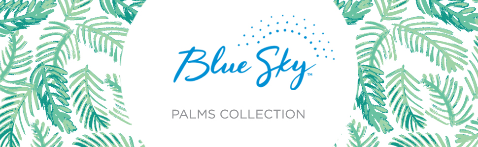 blue sky, day designer, palms collection banner, green leaves cover, 5x8 academic planner, 2020-21