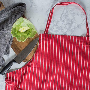 stripe kitchen apron