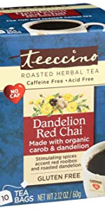 Teeccino Dandelion Red Chai Herbal Tea is made with red rooibos and organic dandelion root for detox