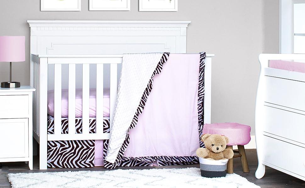 Zebra Stripe Crib Bedding Set; Safari Crib Bedding Set for girl; pink and brown crib bedding set