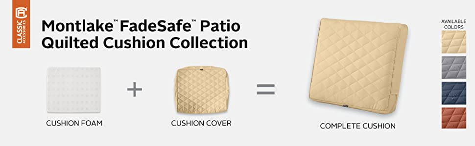 Montlake FadeSafe Quilted Patio Chair Back Cushion