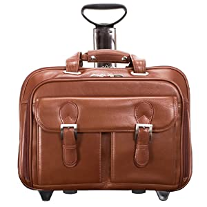 "Cognac 15"" Leather Checkpoint-Friendly Patented Detachable -Wheeled Laptop Briefcase"