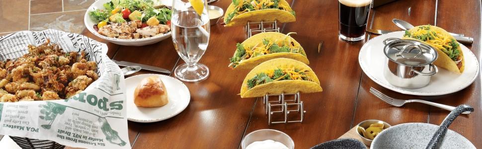 get, g.e.t. enterprises, taco holder, plate, melamine, platter, glass, cup, plastic, break resistant