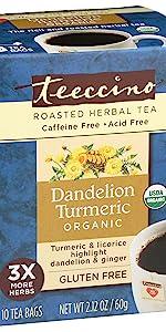 Teeccino Dandelion Turmeric Herbal Tea made with roasted dandelion root and organic turmeric