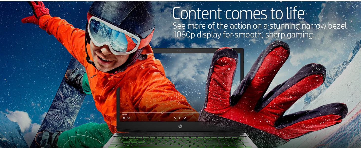 narrow bezel 1080p display smooth sharp gaming