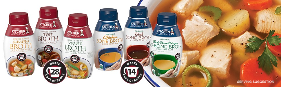 kitchen accomplice broth, broth, chicken broth, beef broth, veggie broth, bone broth, vegan broth