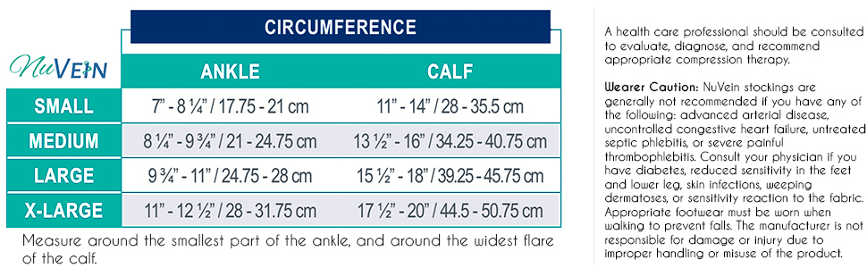 NuVein Compression Socks measuring and sizing chart