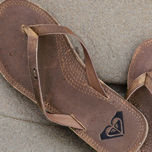 roxy, leather sandal, flip flop, water friendly, non slip,  quick dry, cushioning
