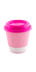Show off with these pink paper coffee cups with pink lids. Stylish and insulated to keep coffee hot.