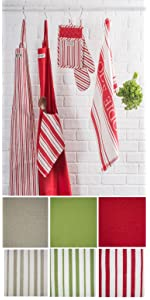 stripe, apron, dish towels, kitchen, pot holders, oven mitts