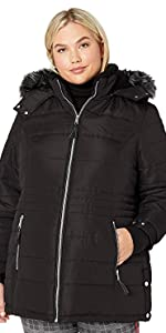 Diamond Quilt Puffer Coat with Fashion Faux Fur Trim