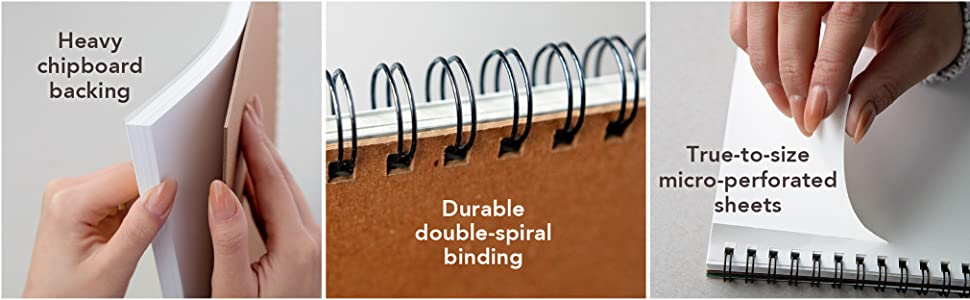 Drawing pad features heavy chipboard, wirebound pads, perforated sheets. Heavyweight art paper