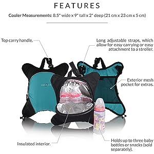 bottle cooler, baby bottle cooler, diaper bag