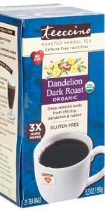 Teeccino Dandelion Dark Roast Herbal Tea is a certified gluten-free coffee alternative for detox
