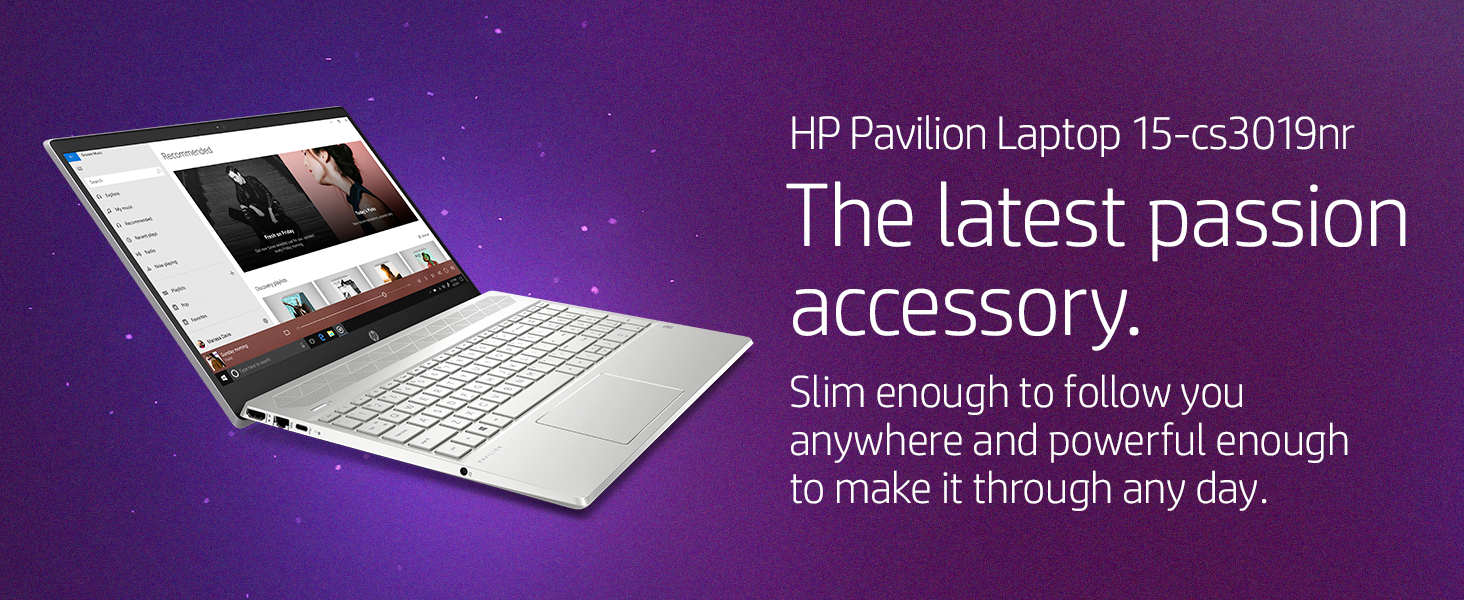 hp pavilion laptop 15-cs3019nr mineral silver natural color create slim thin light powerful