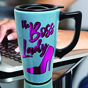 boss; office; travel mug