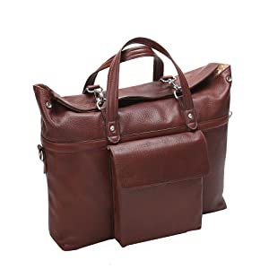 """Brown 17"""" Leather Roll Top Laptop Briefcase. Detachable and adjustable strap. Easy carry, spacious"""