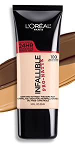 infallible pro matte foundation, loreal makeup, long wear matte foundation