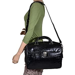 Black 15" Leather Large Ladies Laptop Briefcase ober ladies' shoulder