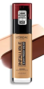 loreal makeup, loreal foundation, infallible foundation, long wear face makeup, lightweight