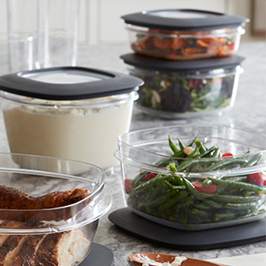 Containers and lids stack neatly and store all your holiday favorites.
