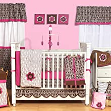 Damask Pink/Chocolate Girls 10 pc Crib Set with Bumper Pad