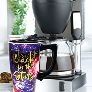 gold foil; travel mug; coffee