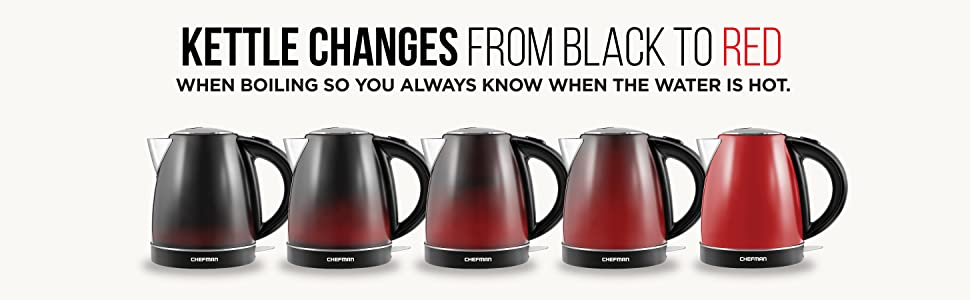 electric tea maker kettle temperature control color changing stainless steel red black 1.7 liter