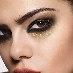 Close-up of woman's face smudging Rimmel Scandal'eyes Waterproof Kohl Kajal Liner to create the look
