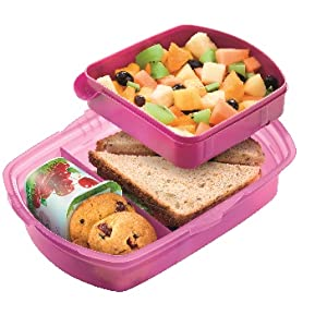Lunchbox with food in compartments