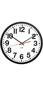 "Commercial Wall Clock with Frame and Quartz Movement, 13"", Black"