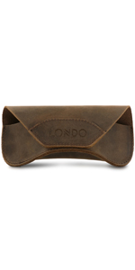Londo Genuine Leather Eyeglass Case with Magnetic Snap Closure