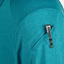 Angled pen pocket on left sleeve