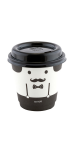 These unique paper coffee cups have built-in insulation and a face decoration with a bowtie.