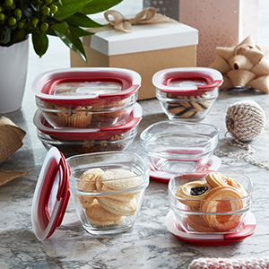 Keep the holidays organized with lids that don't get lost; containers double as serveware.