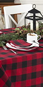 Elrene Home Fashions Farmhouse Living Holiday Red and Black Plaid Rectangle Tablecloth