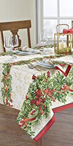 Elrene Home Fashions Holly Traditions Holiday Red and Green Rectangle Tablecloth