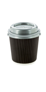 Black paper espresso cups for serving espressos and cortados on the go. Lids are available.