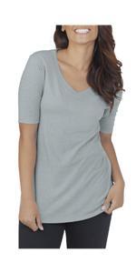Elbow length, v-neck tee, comfy, essentials