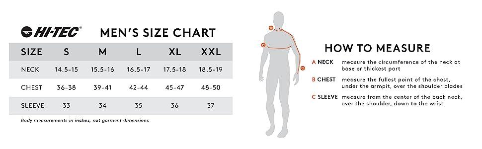 hi-tec mens size chart