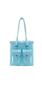 """Aqua Blue 14"""" Leather Ladies' Laptop Briefcase"""