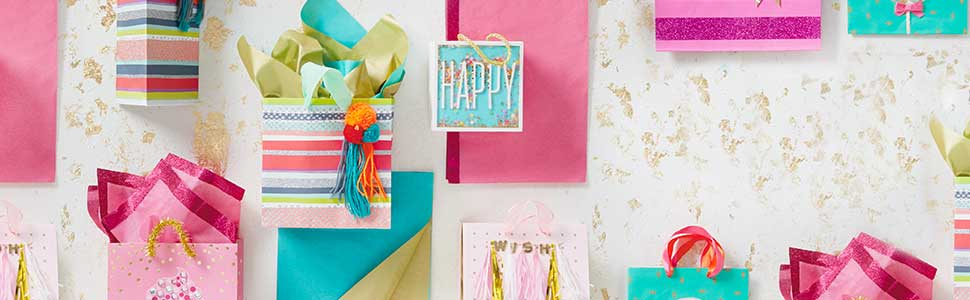 Bright and colorful gift bags in pink, teal and lime for birthdays, baby showers and Galentines Day