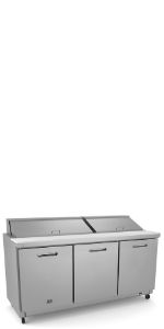"Stainless Steel Sandwich/Salad Preparation Table, 72"" with 18GN 1/6 containers"