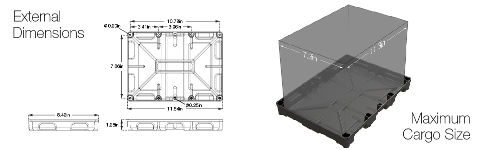 Battery tray detentions, maximum battery tray foot print, battery tray cargo space, group 24 battery