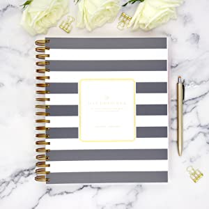 blue sky day designer 2020-21 planner, professional design, daily monthly, black stripe collection