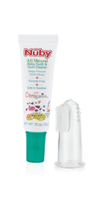 Baby Toothpaste and Silicone Finger Gum Massager