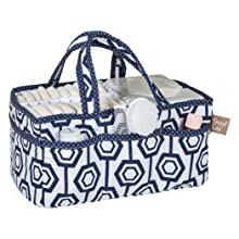 hexagon storage caddy, navy and white storage caddy, navy and white diaper caddy