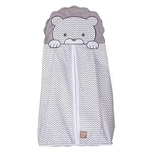 safari chevron diaper stacker, white and gray diaper stacker, lion face diaper stacker